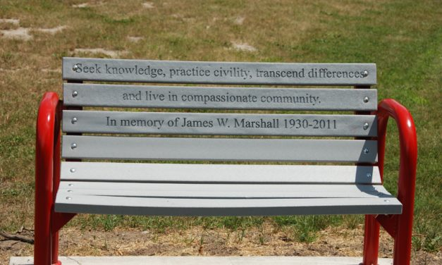 Behind this lovely memorial bench…