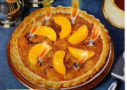 Flaming Peach Pie