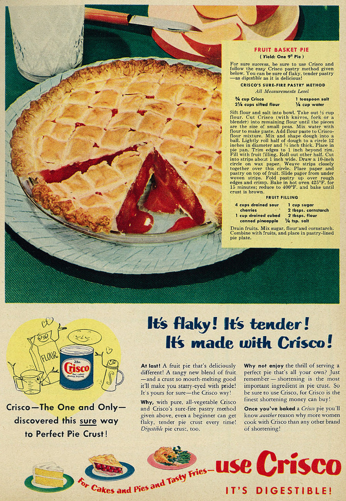 Old-fashioned fruit pie. Cherry Fruit Pie. Made with Crisco.