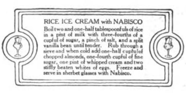 Vintage Rice Ice Cream 1916