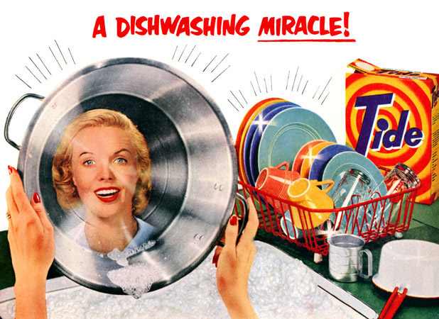 1950s ad for Tide for laundry and sparkling dishes.